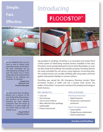 Door Dam/FloodStop flyer front